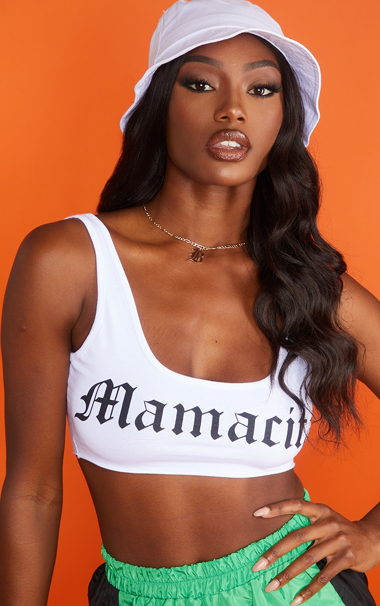 White Printed Mamacita Crop Top 4