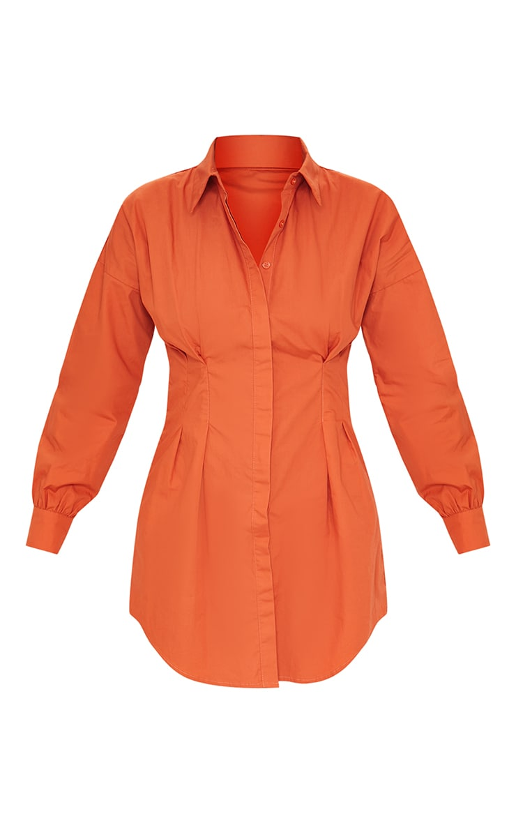 Rust Fitted Waist Shirt Dress 5