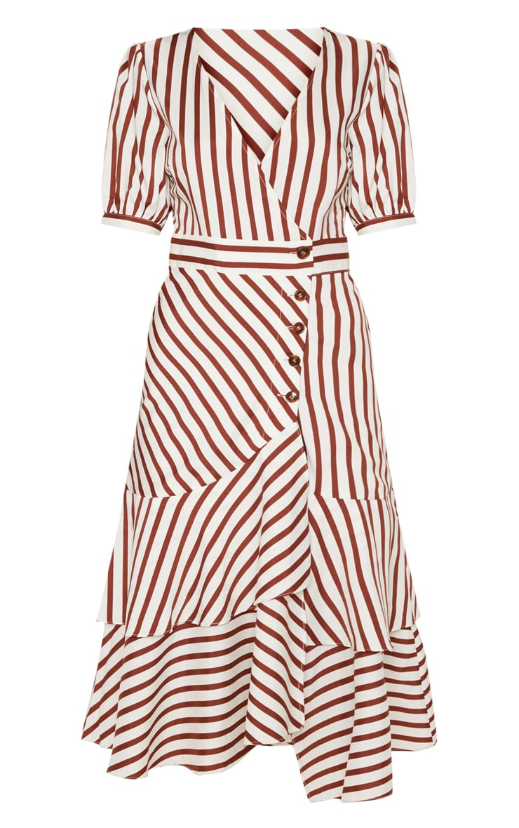 Rust Stripe Tortoise Shell Button Detail Ruffle Midaxi Dress 3