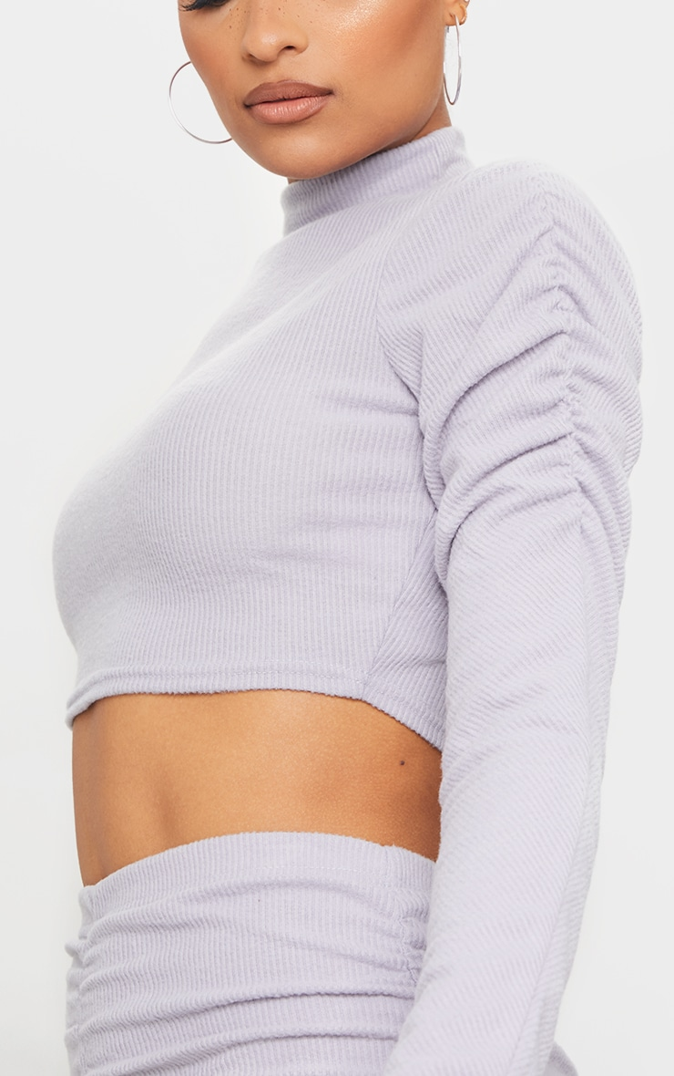 Light Grey Soft Brushed Rib High Neck Ruched Long Sleeve Crop Top 4