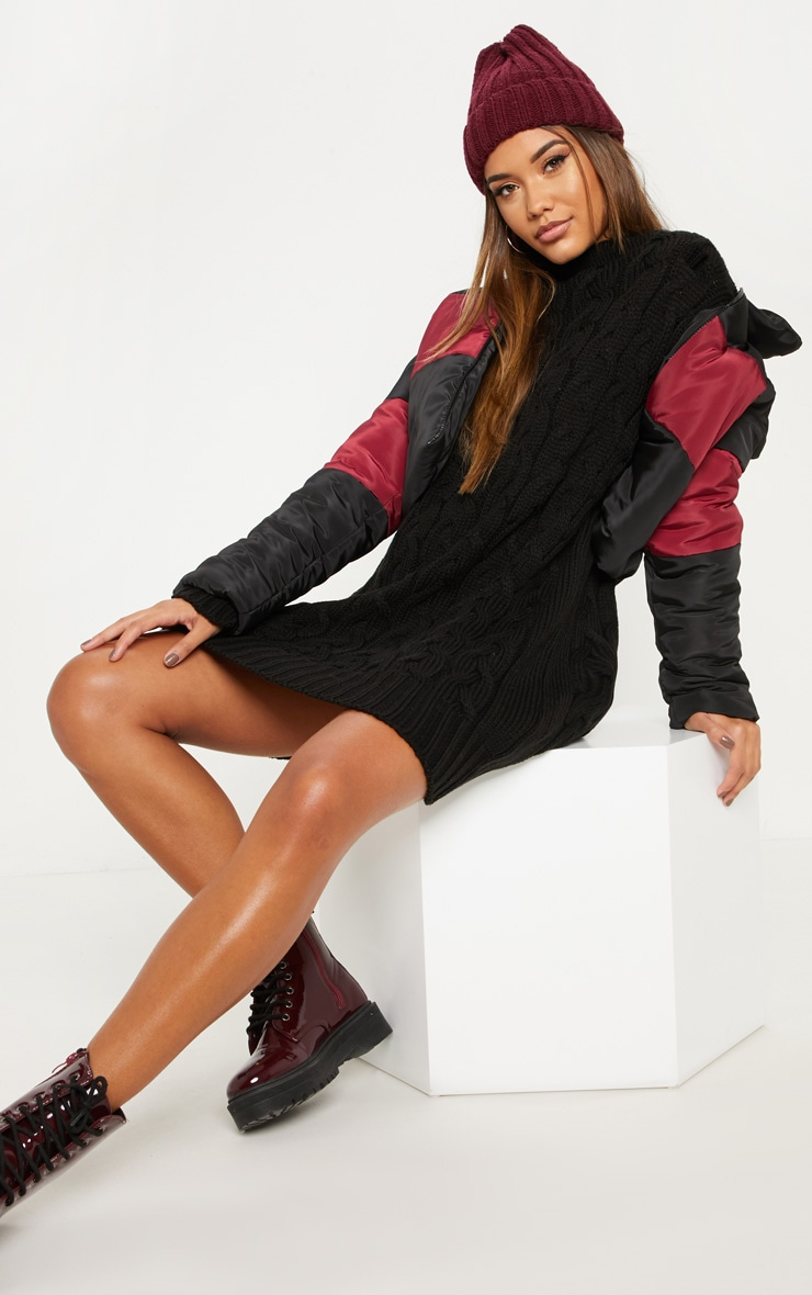 Black Cable Detail Knitted Jumper Dress  4