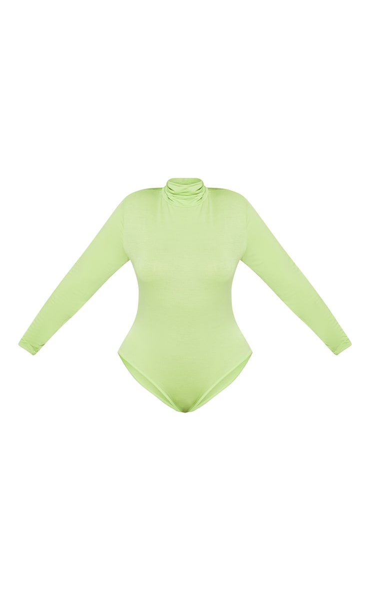 Plus Neon Lime Basic Roll Neck Long Sleeve Bodysuit 4