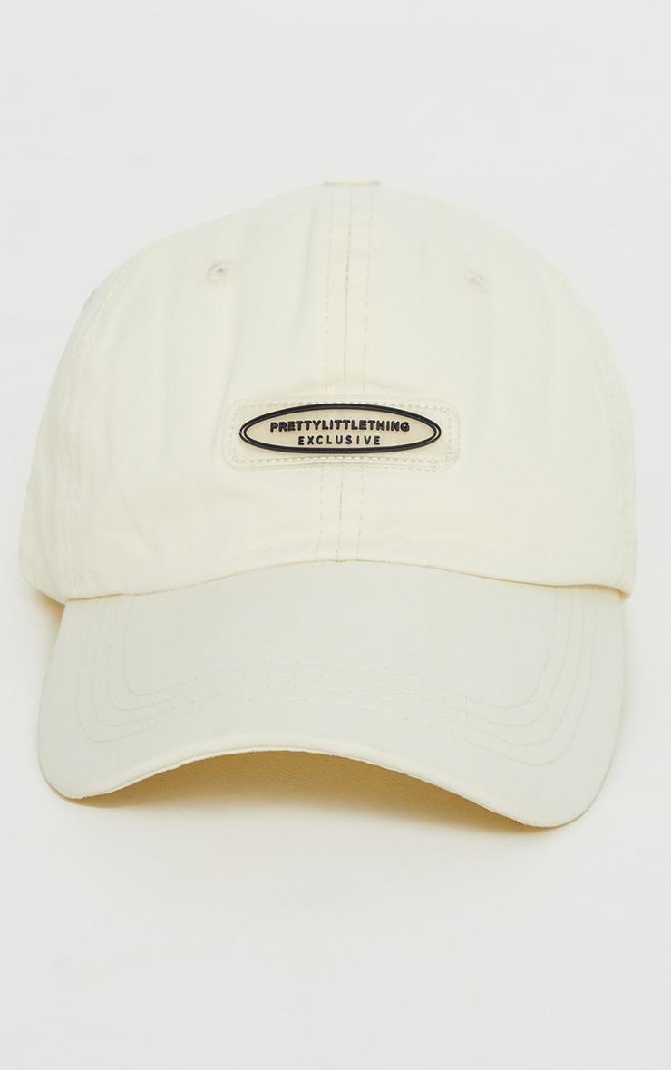 PRETTYLITTLETHING Exclusive Cream Baseball Cap 1