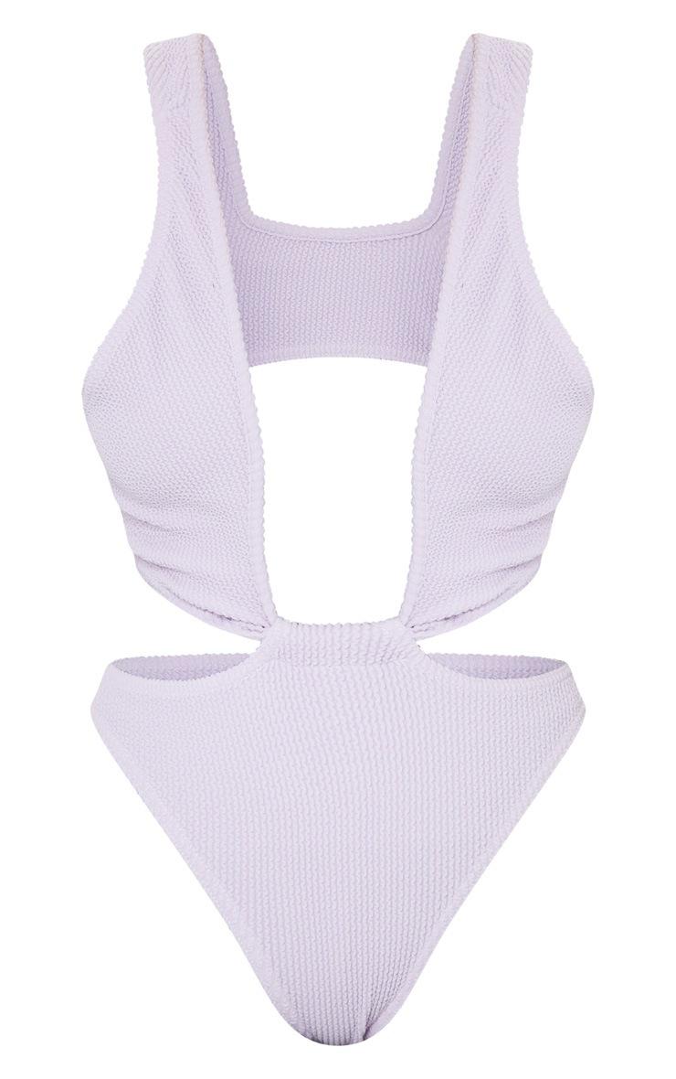Lilac Crinkle Asymmetric Double Strap Twist Swimsuit 5