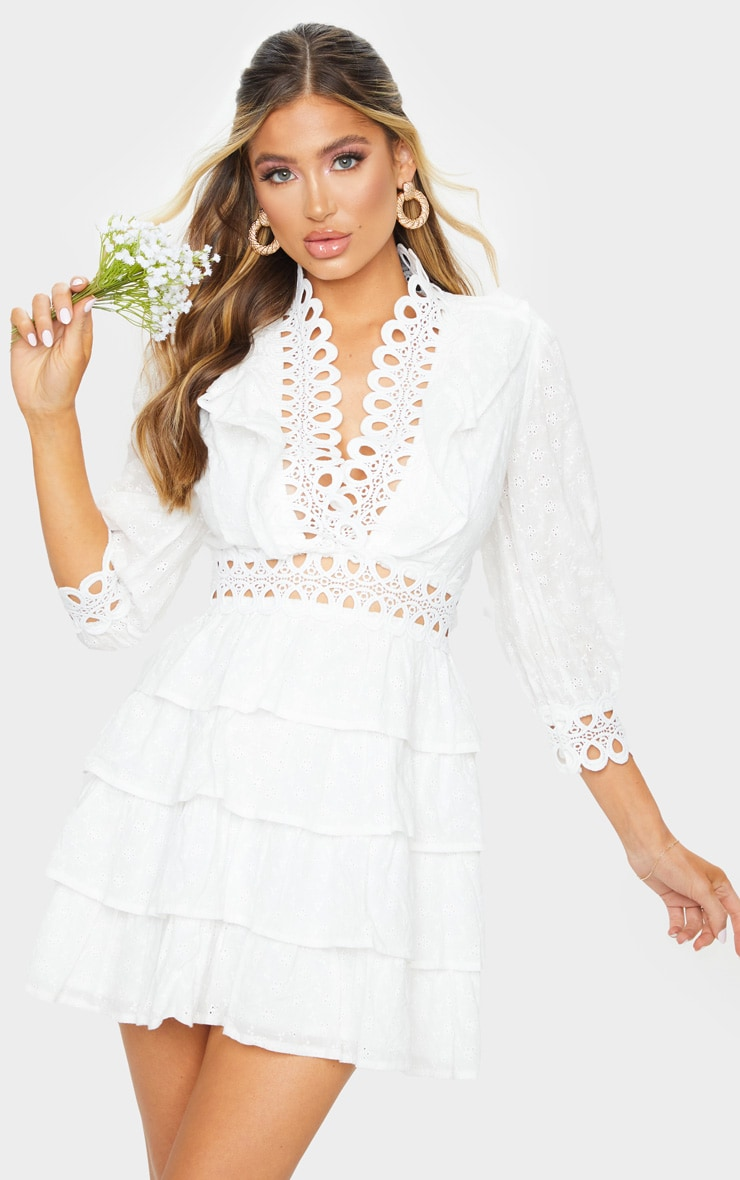 White Lace Trim Broderie Anglaise Tiered Skater Dress 1