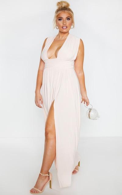 Plus Peach Ruched Plunge Maxi Dress