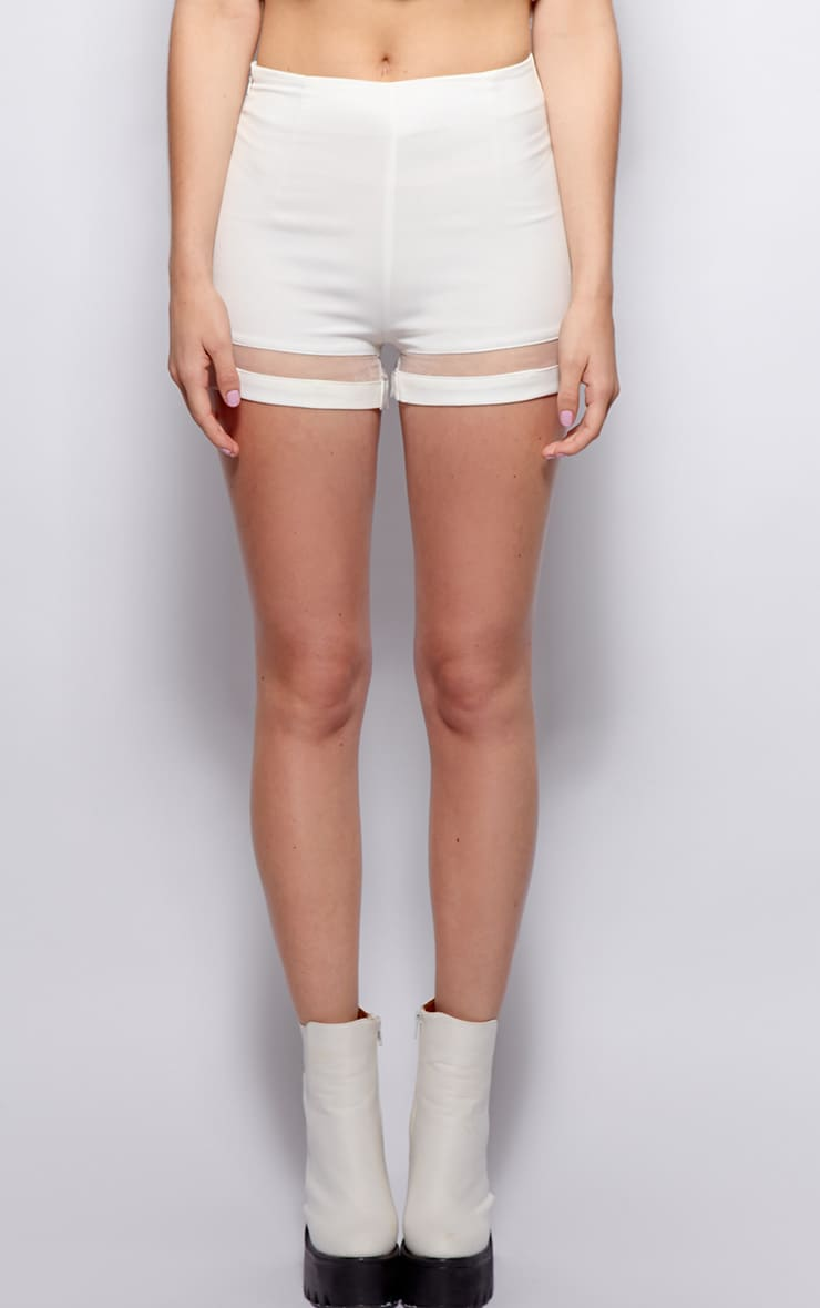 Ashley White Mesh Insert Chiffon Shorts 4