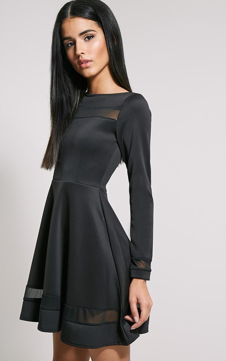 Leyah Black Mesh Insert Skater Dress 4