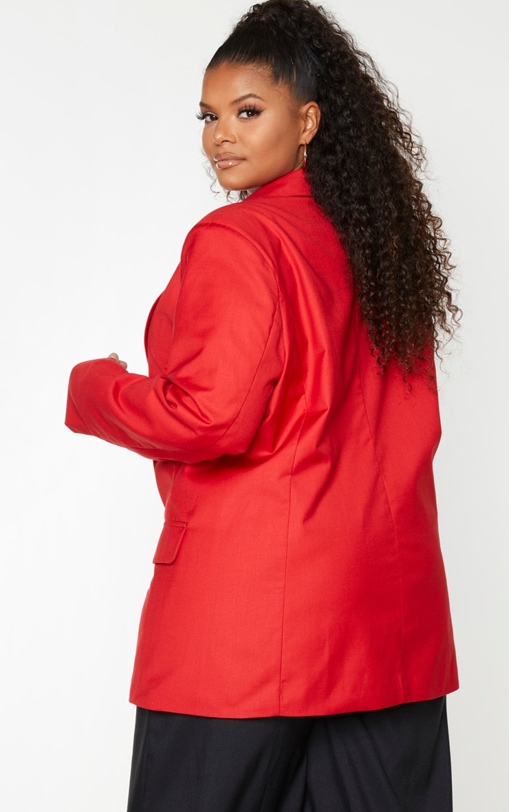Plus Red Longline Oversized Woven Blazer 3