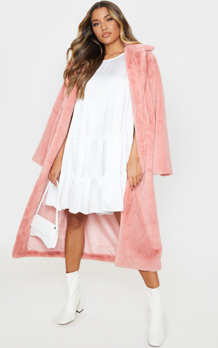 White Frill Sleeve Tiered Smock Dress 4