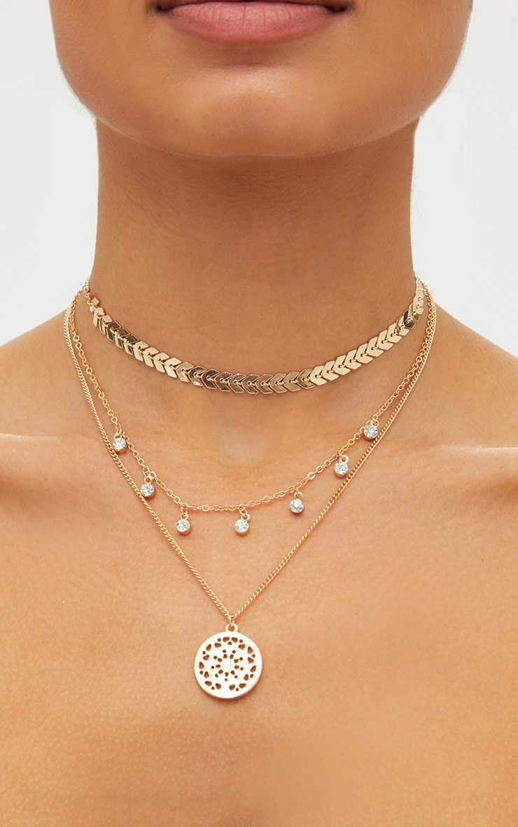 Gold Triple Layered Diamante Necklace 2