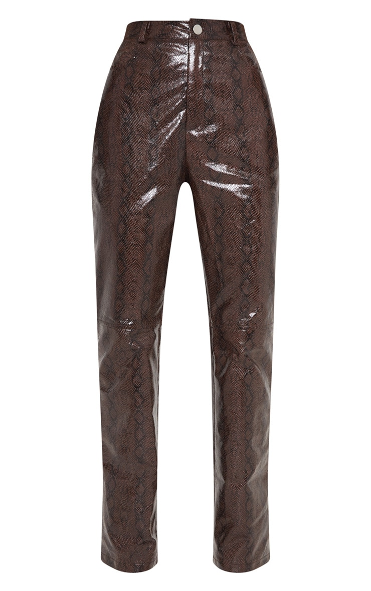 Brown Faux Leather Snakeskin Straight Leg Pants 3