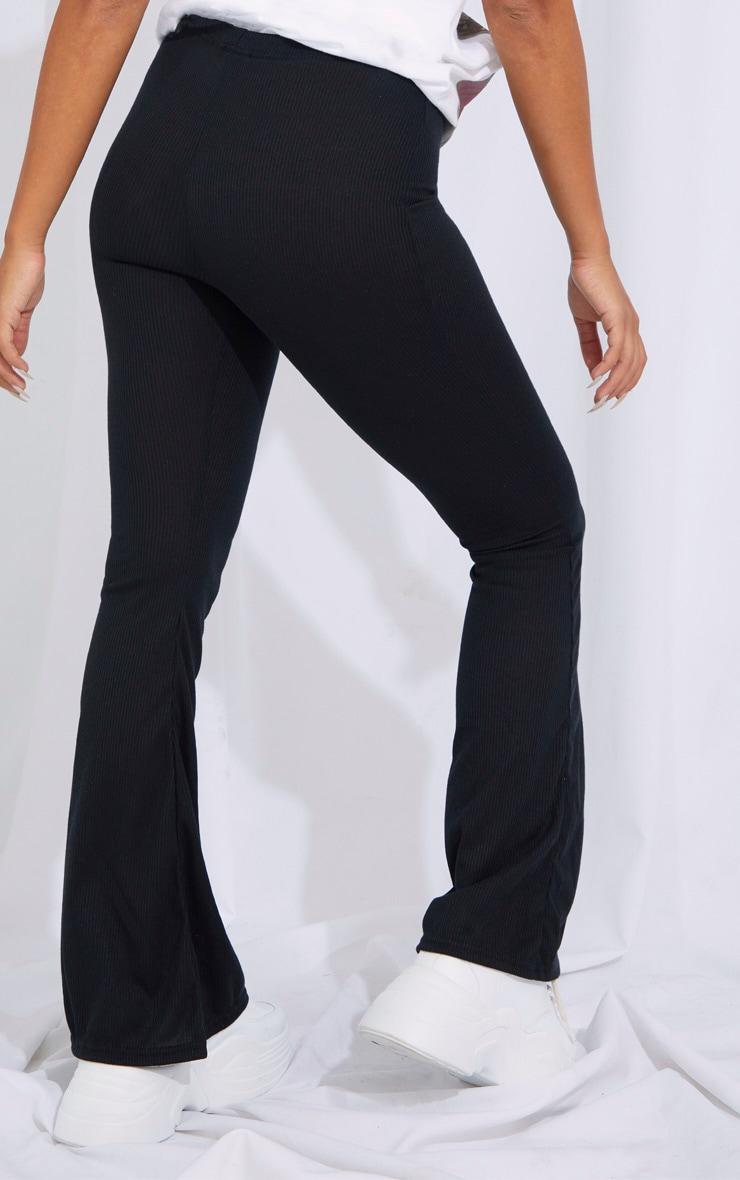 Petite Black Ribbed Flared Pants 3