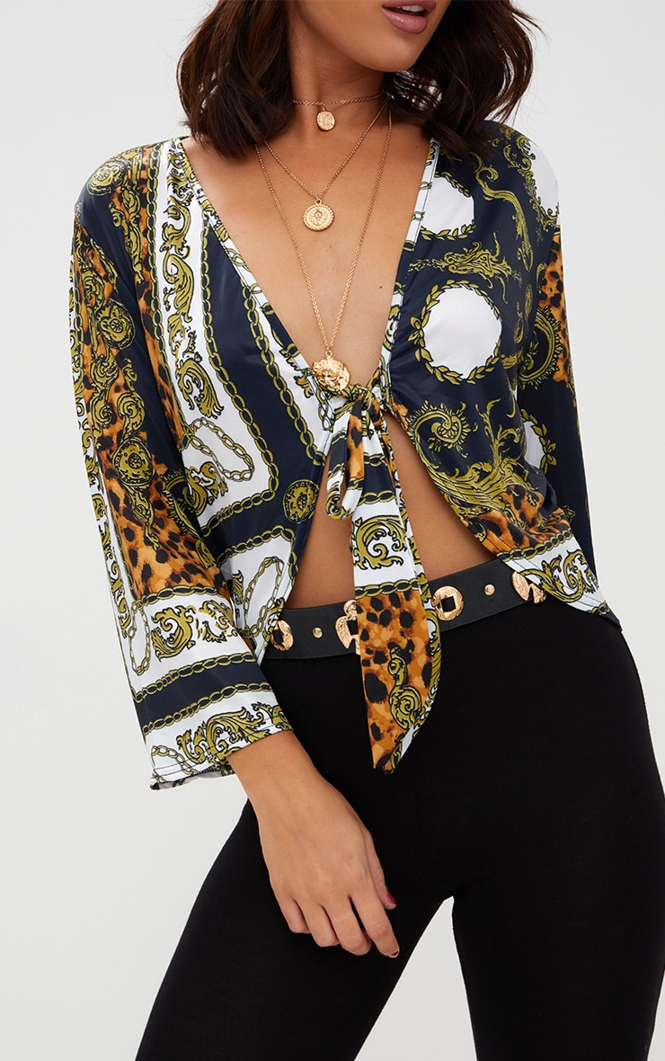 Navy Chain Print Tie Front Blouse  5
