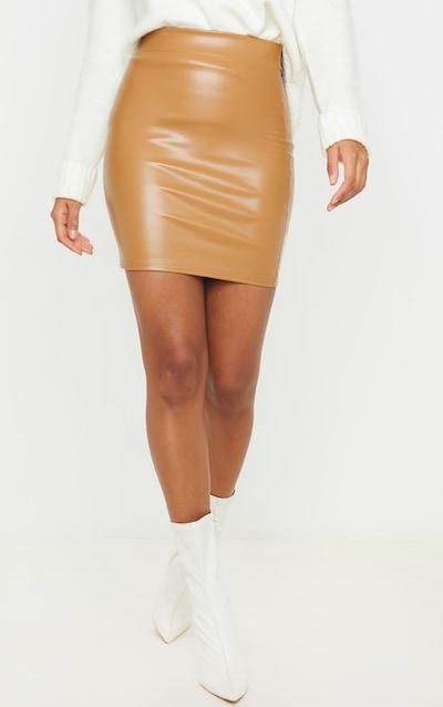 Camel Basic Faux Leather Mini Skirt