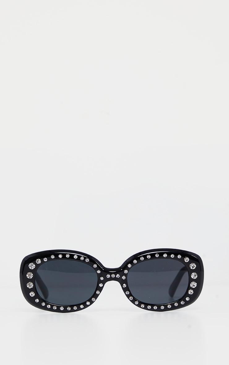Black Chunky Oval Retro Studded Sunglasses 2