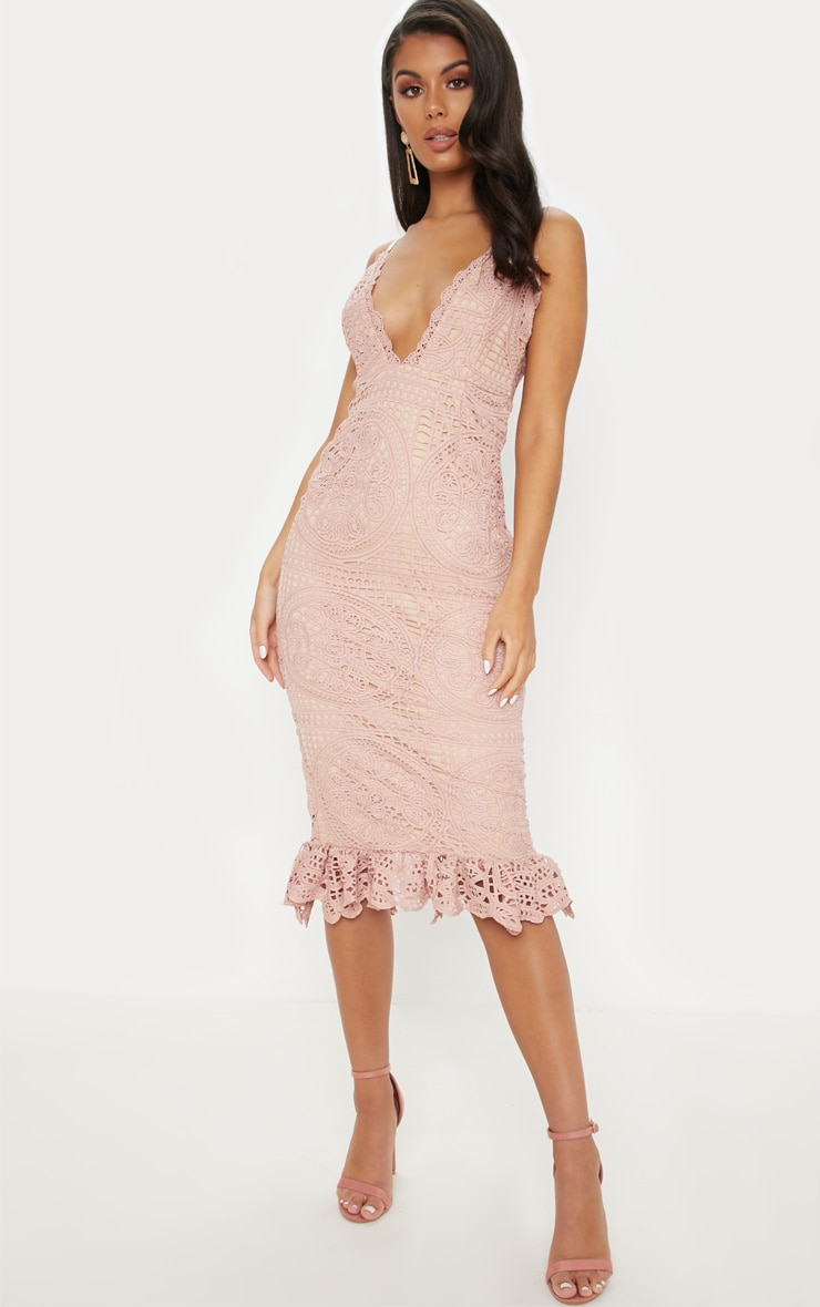 98e97234bac8 Pink Strappy Thick Lace Frill Hem Midi Dress image 1