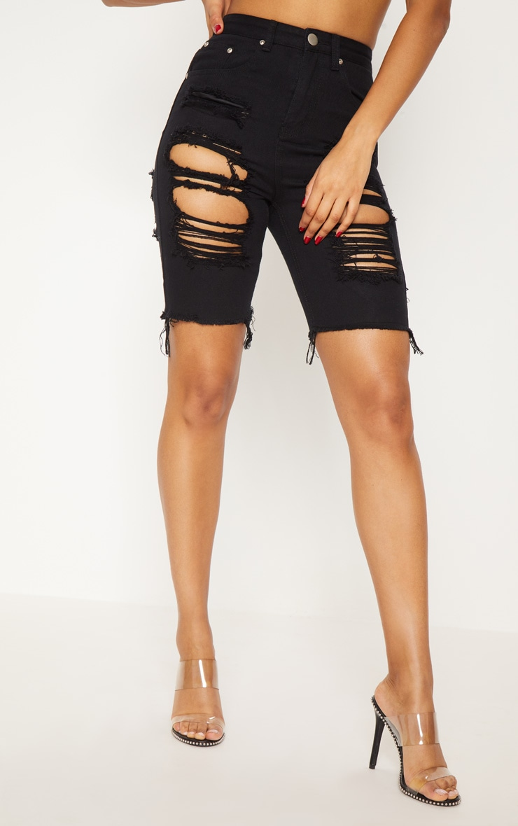 Black Extreme Distressed Long Shorts 2