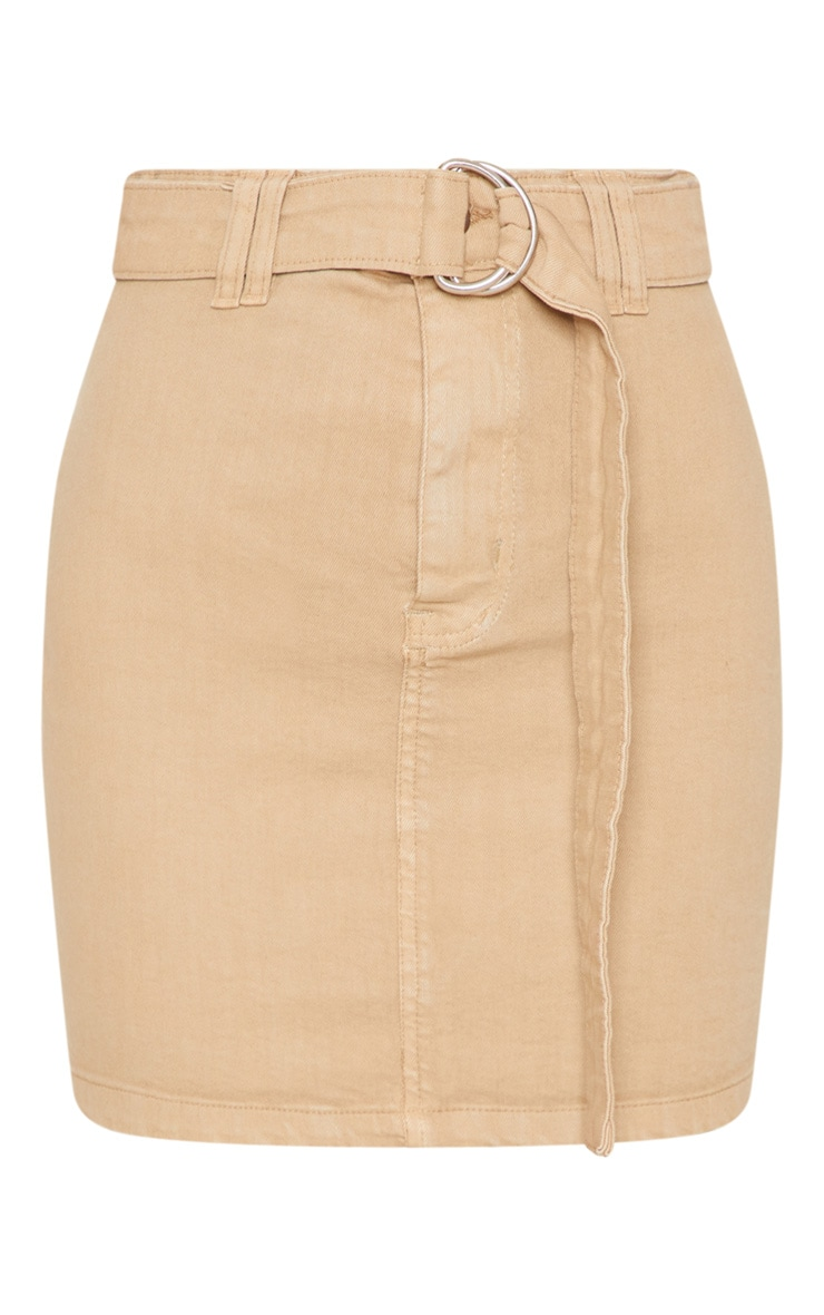 Stone O-Ring Detail Denim Mini Skirt 3