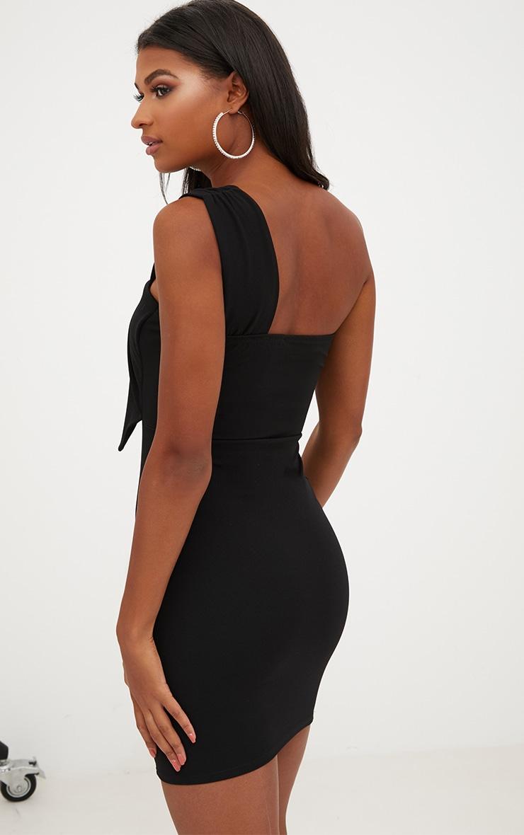 Black One Shoulder Origami Detail Bodycon Dress 2