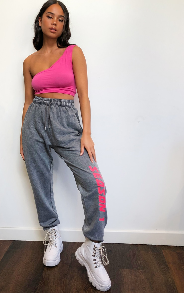 PRETTYLITTLETHING Charcoal Season Printed Joggers 1