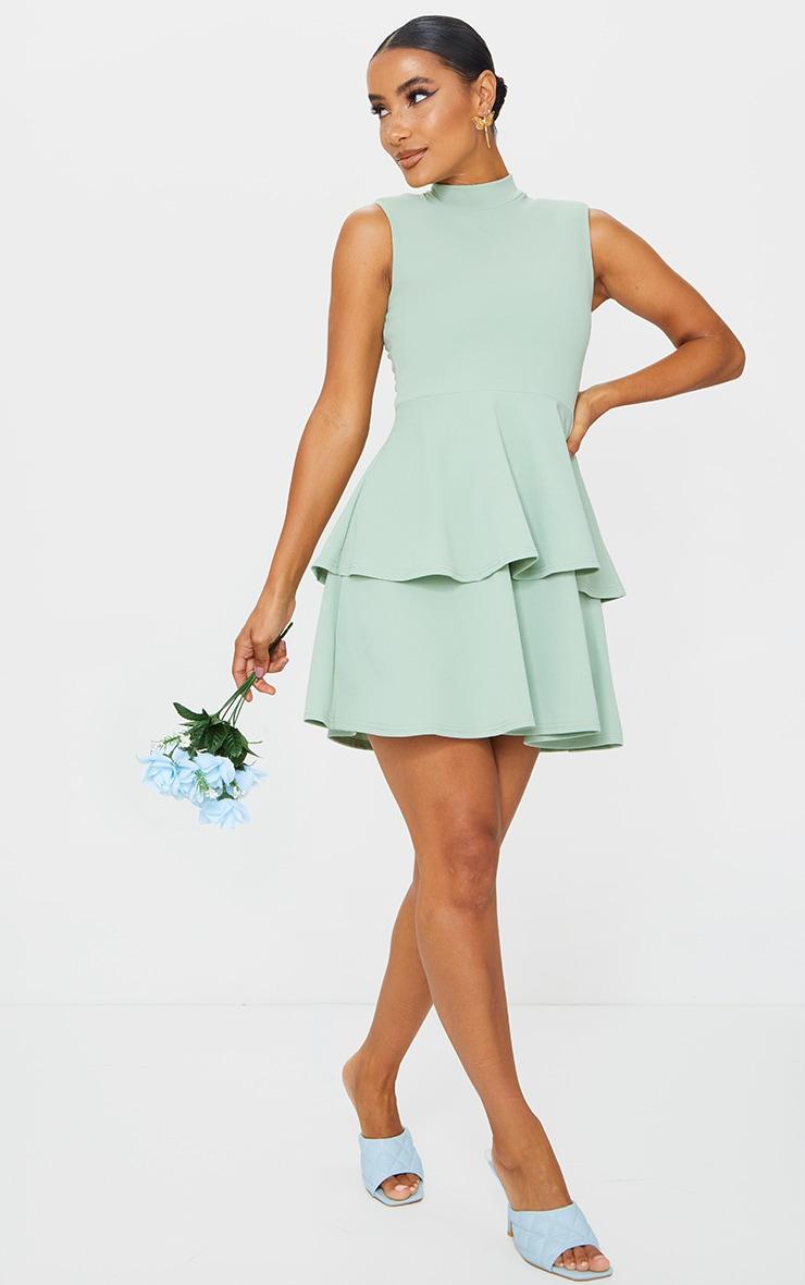 Sage Green Sleeveless Shoulder Pad Detail Tiered Skater Dress 3