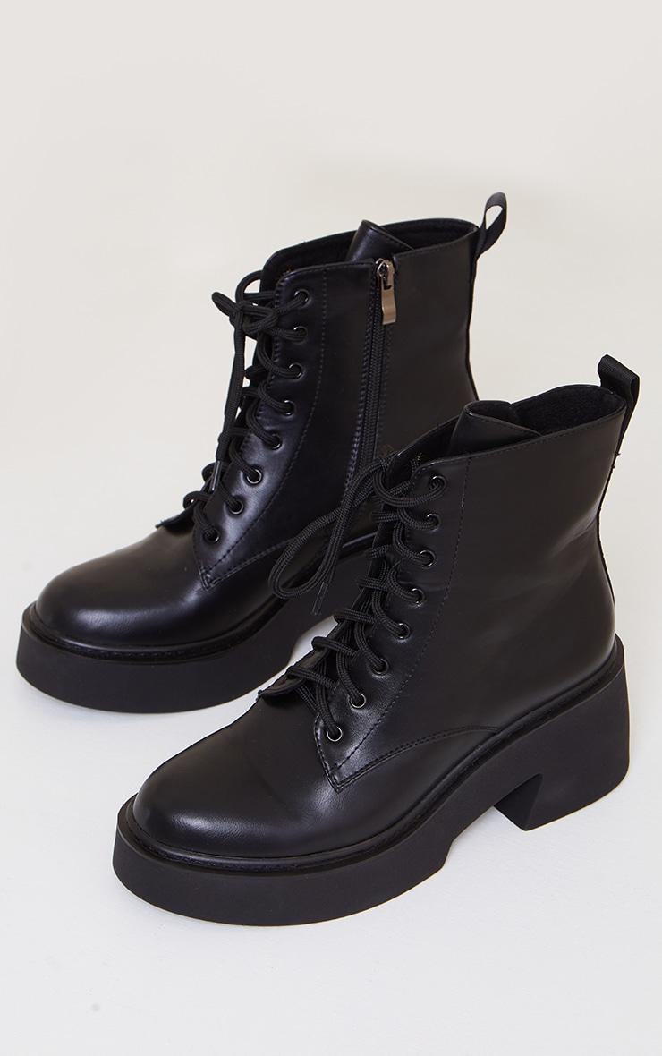 Black Platform Lace Up Ankle Biker Boots 3