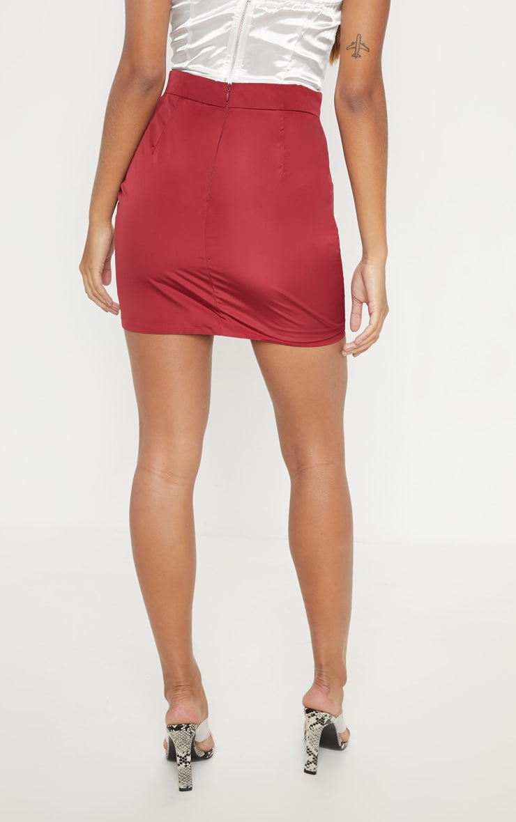 Burgundy Cargo Pocket Detail Mini Skirt  4