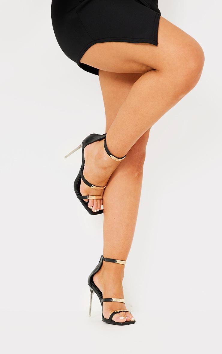 PRETTYLITTLETHING - Sandales noires à brides multiples et talons 1