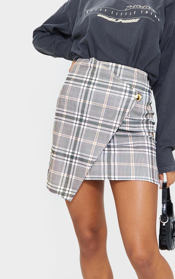 Stone Check Wrap Mini Skirt 5
