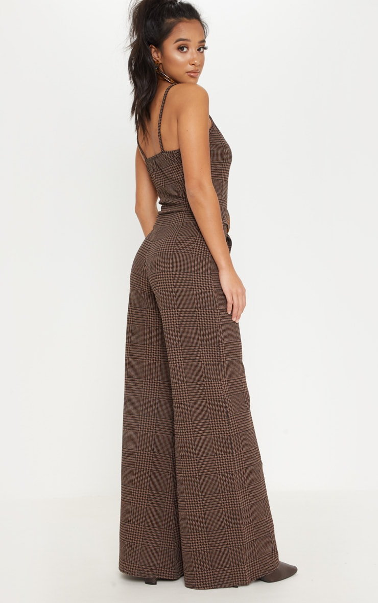 Petite Brown Checked Tortoise Belt Wide Leg Jumpsuit 2
