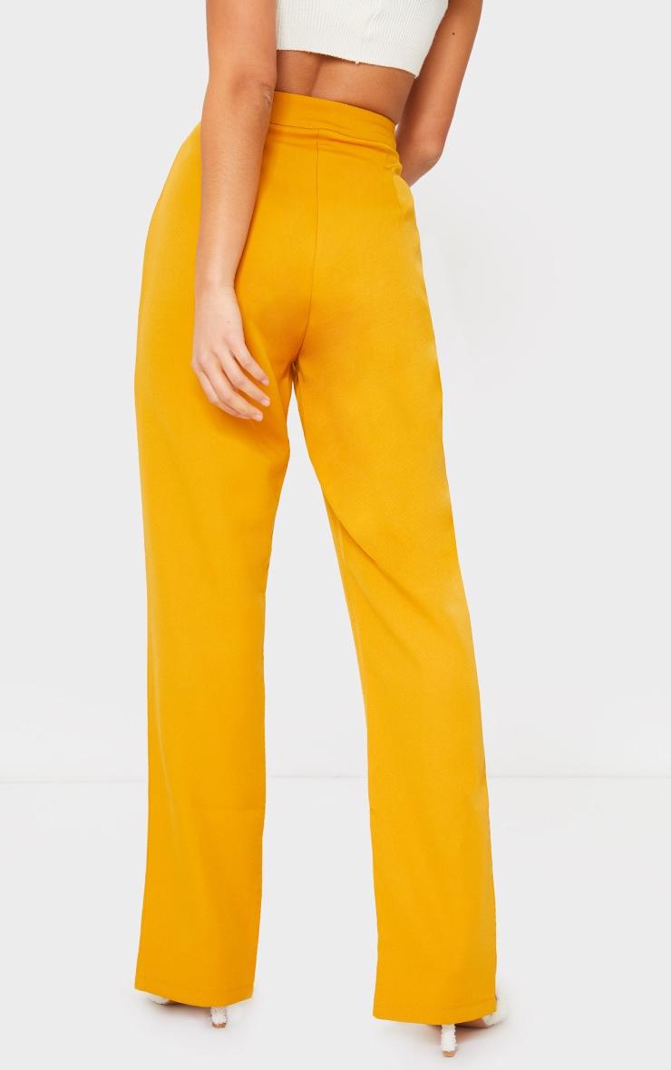 Petite Mustard Tailored Split Hem Straight Leg Pants 3
