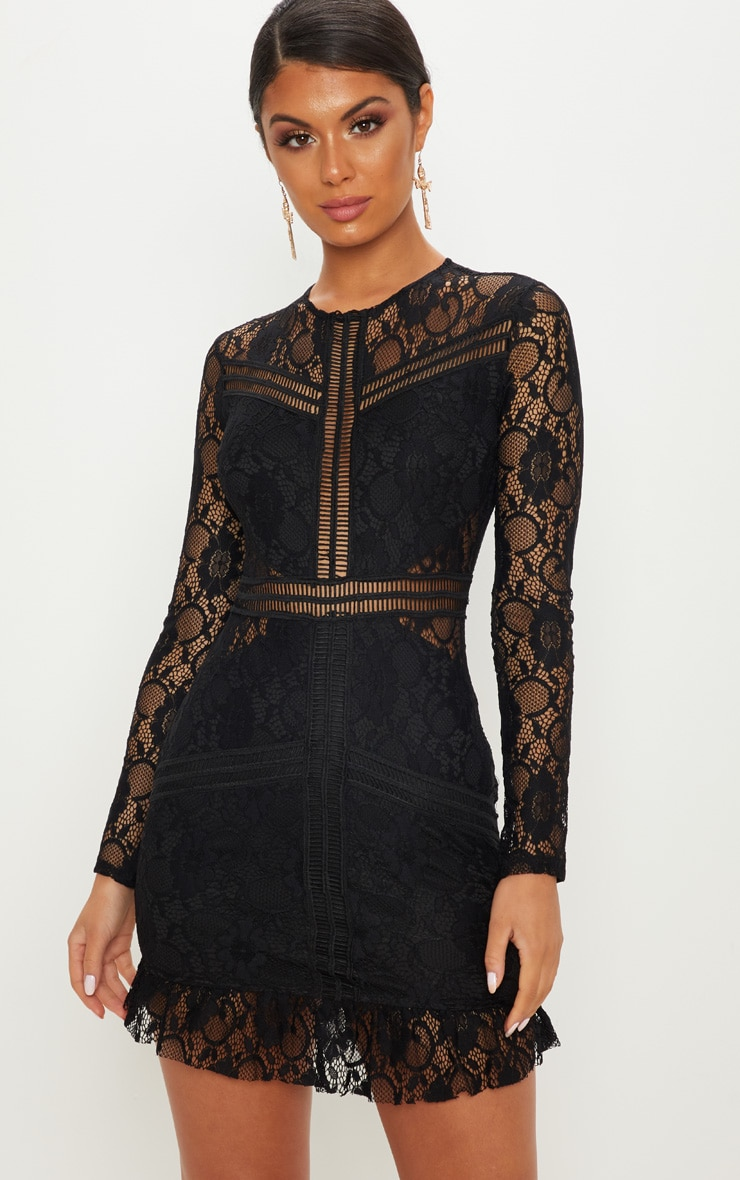 Black Lace Ladder Detail Frill Hem Bodycon Dress 1