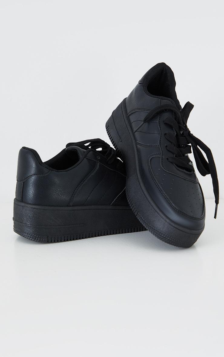 Black Lace Up Flatform Sneakers