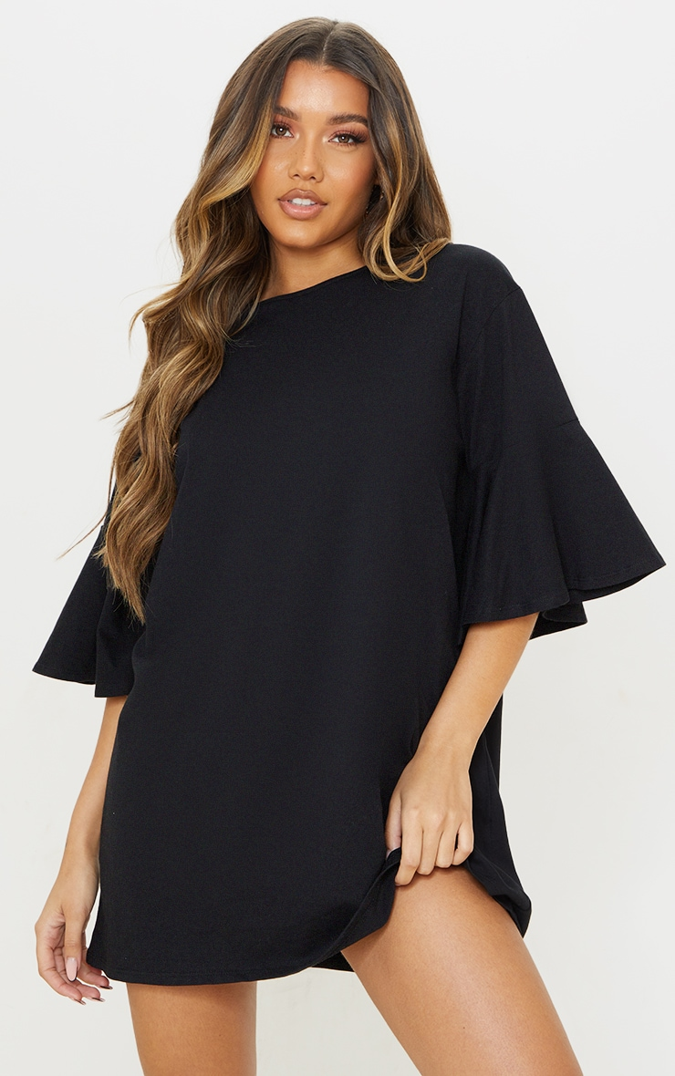 Black Cotton Short Flare Sleeve T Shirt Dress