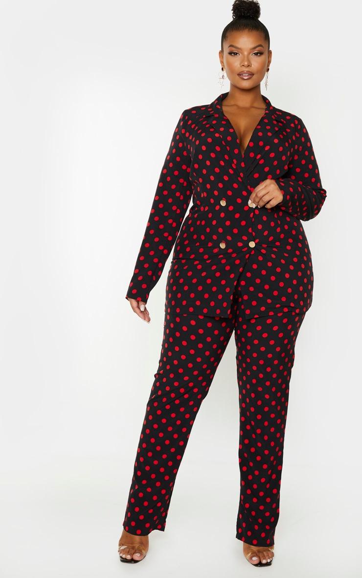 PLT Plus - Pantalon droit noir à pois 1