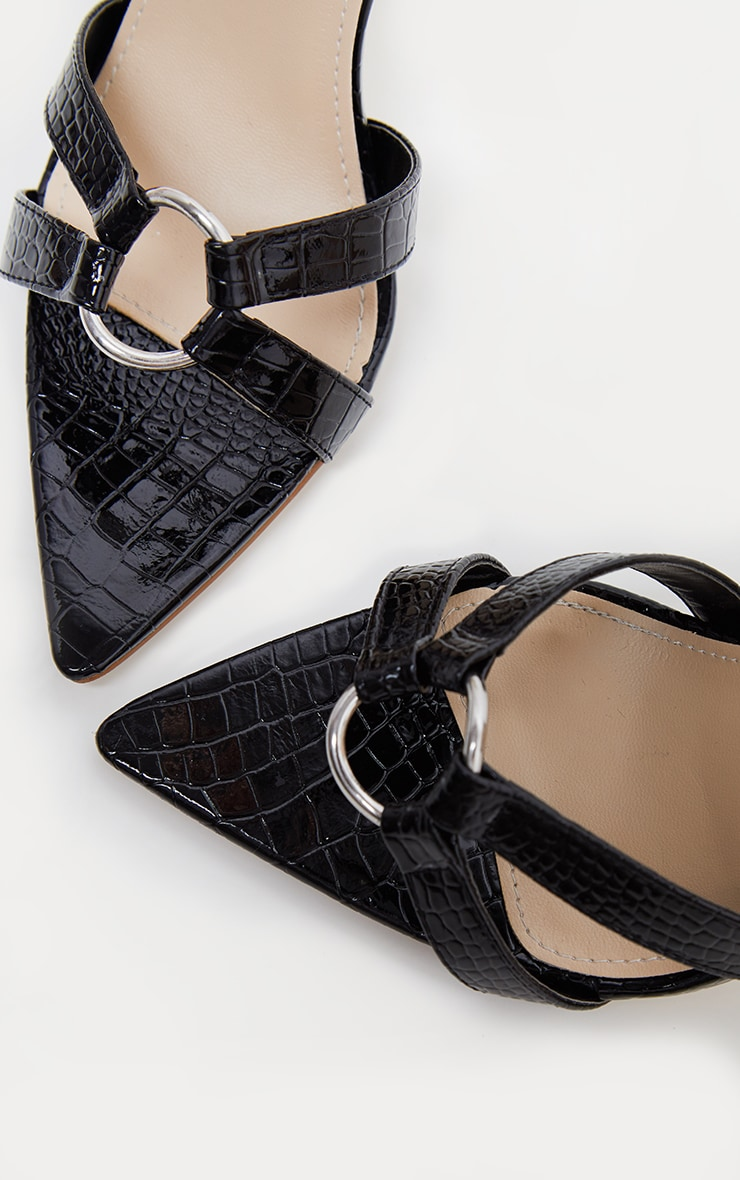 Black Point Ring Detail Lace Up Sandal 4