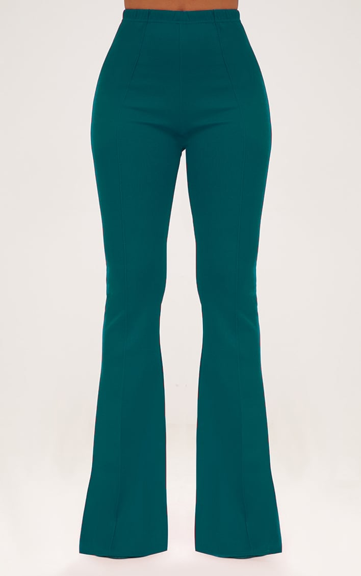 Forest Green High Waist Extreme Flare Long Leg Trousers 2