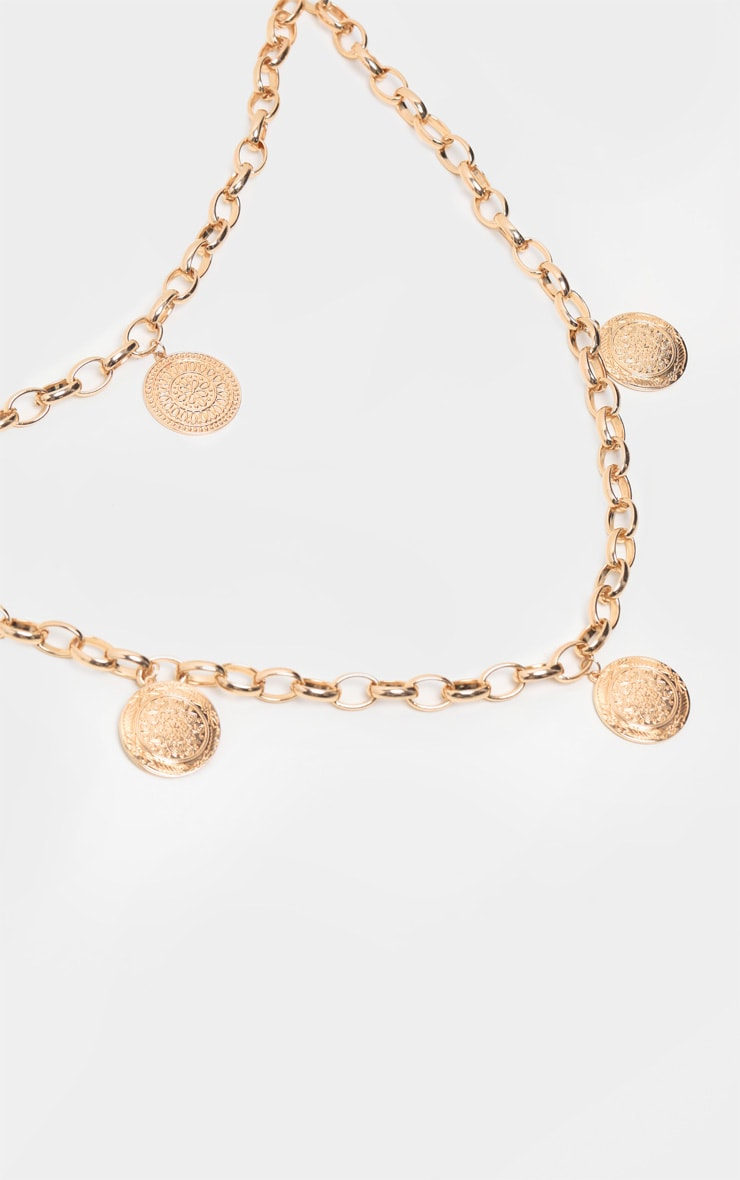 Gold Double Layer Disc Necklace 3
