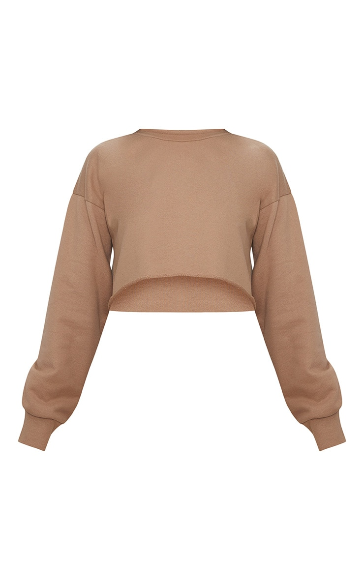 Petite Stone Raw Edge Cropped Sweater 3