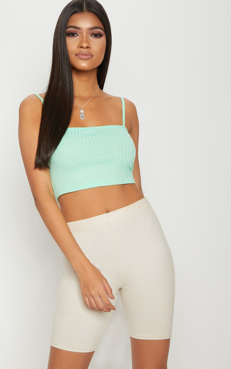 Basic Mint Rib Square Neck Strappy Crop Top