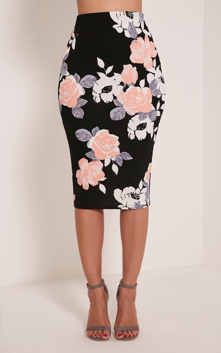 Francesca Peach Rose Print Midi Skirt 3