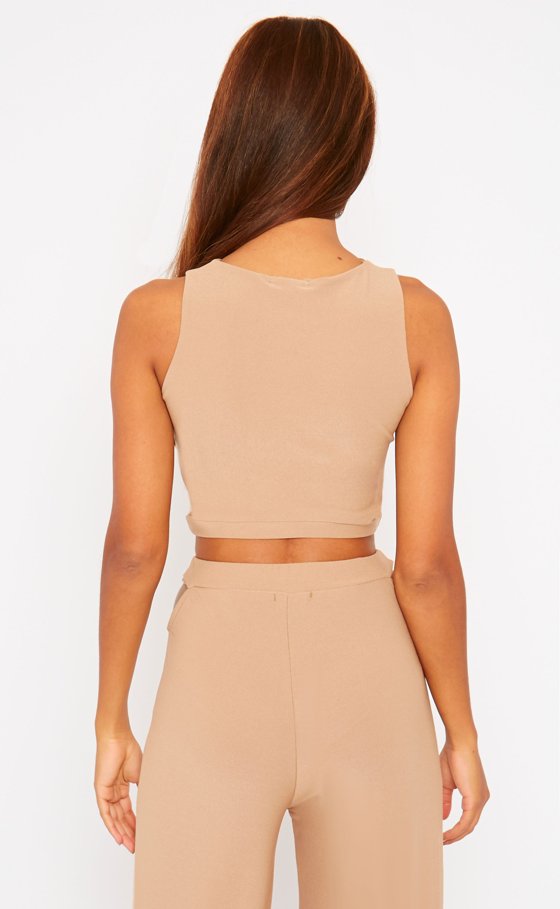 Elphina Camel Crepe Cut Out Crop Top 2
