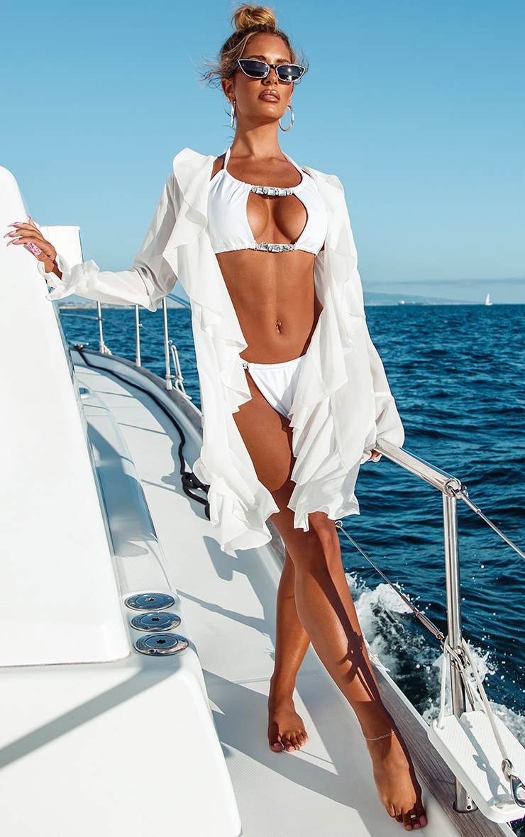 White Diamante Trim Cut Out Bikini Top 3