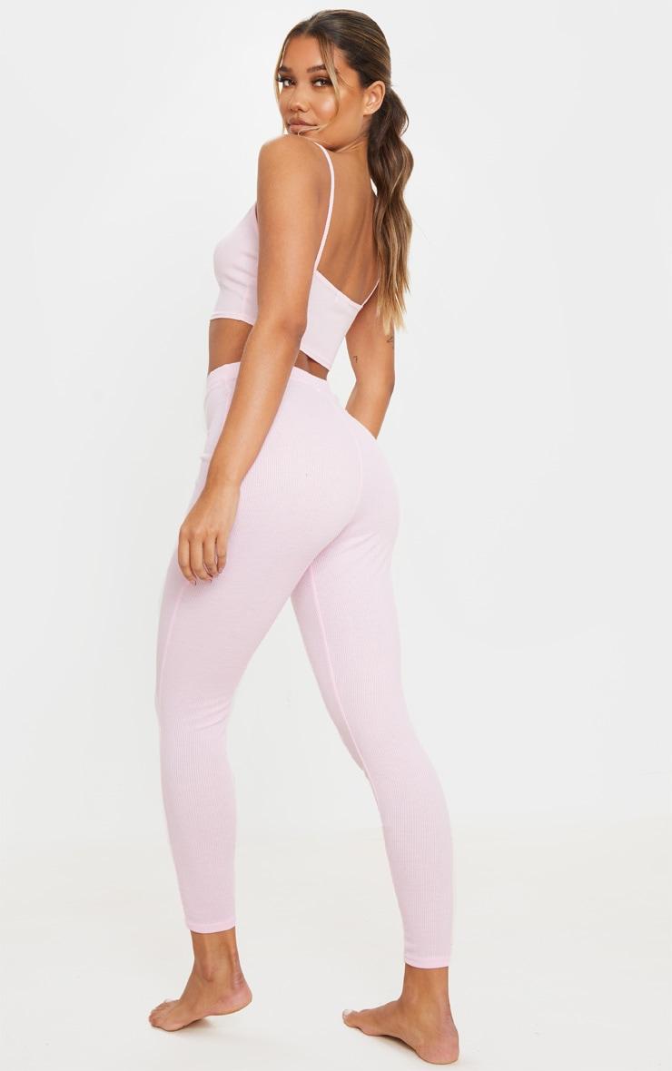 Pink Ribbed Legging And Tie Crop Bralet PJ Set 3