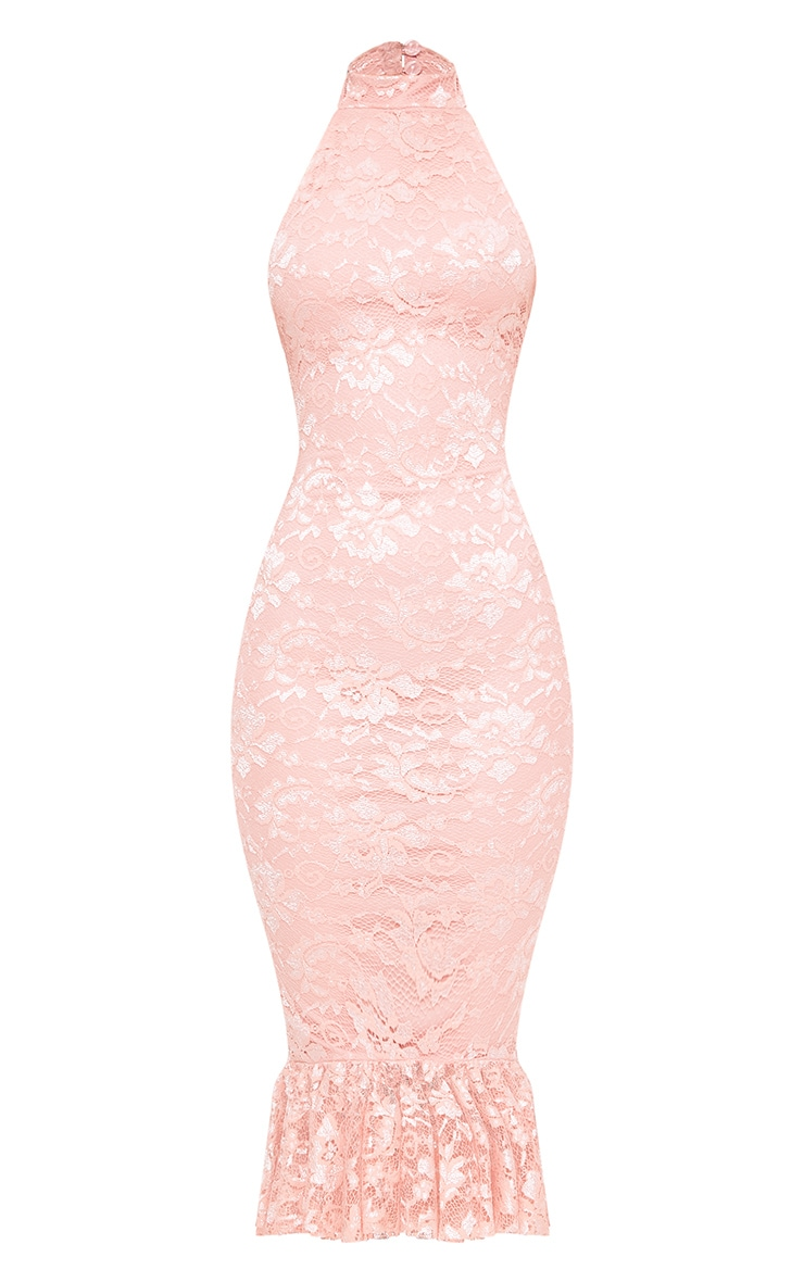 Dusty Pink Lace Halterneck Frill Hem Midi Dress 3