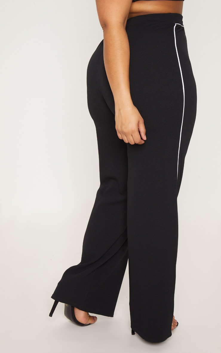 Plus Black Contrast Seam Detail Wide Leg Trousers 4