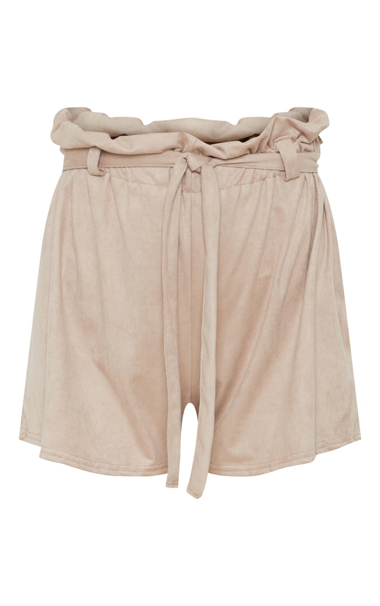 Cream Faux Suede Tie Waist Short  3