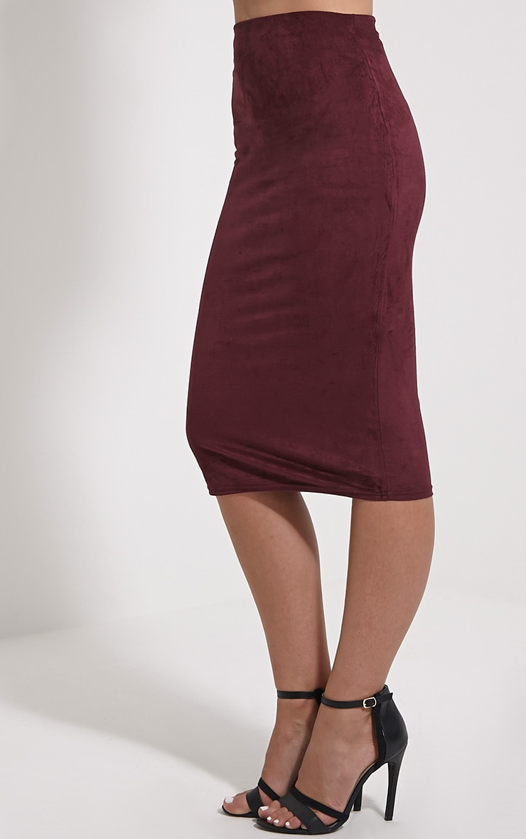 Aggie Wine Faux Suede Midi Skirt 4