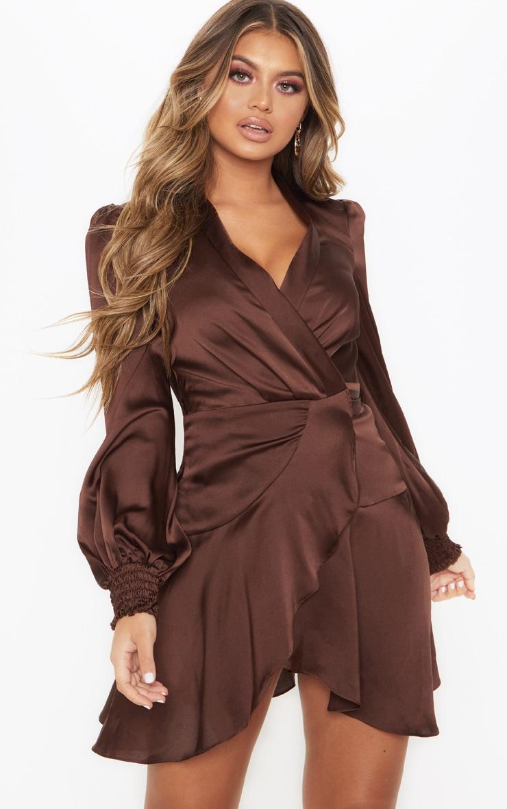3a8b3256b6b8 Chocolate Brown Satin Wrap Frill Hem Shift Dress image 1